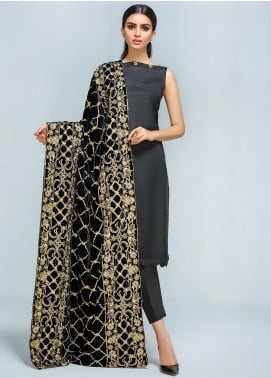 Gulaal Embroidered Velvet  Shawl GL19SHV 04 Black - Winter Luxury Collection