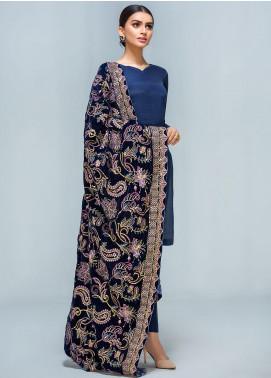 Gulaal Embroidered Velvet  Shawl GL19SHV 05 Navy Blue - Winter Luxury Collection