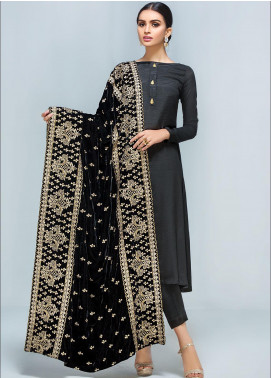 Gulaal Embroidered Velvet  Shawl GL19SHV 1A BLACK - Winter Luxury Collection