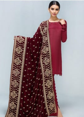 Gulaal Embroidered Velvet  Shawl GL19SHV 1B MAROON - Winter Luxury Collection