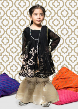 Gulaal Chiffon Embroidered 3 Piece Suit for Girls - Black KS-05