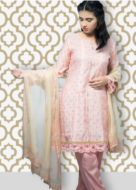 Gulaal Embroidered Jacquard Stitched 3 Piece Suit SK-02 Tea Pink