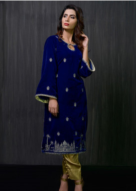 Gulmina by Al Dawood Textile Embroidered Velvet Unstitched Kurtis GLD19V 1 ROYAL FANTASY - Winter Luxury Collection
