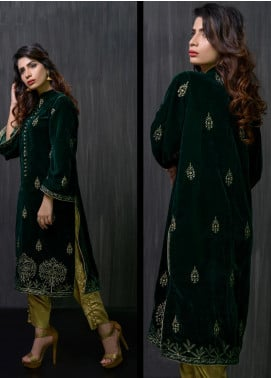 Gulmina by Al Dawood Textile Embroidered Velvet Unstitched Kurtis GLD19V 2 EMERALD INSIGHT - Winter Luxury Collection