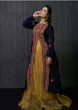Gulmina by Al Dawood Textile Embroidered Velvet Unstitched Kurtis GLD19V 3 MID NIGHT PRUSSIAN - Winter Luxury Collection