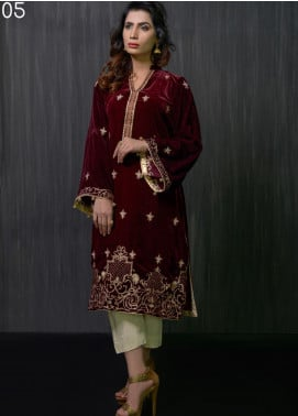 Gulmina by Al Dawood Textile Embroidered Velvet Unstitched Kurtis GLD19V 5 CRIMSON RED - Winter Luxury Collection