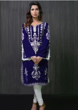 Gulmina by Al Dawood Textile Embroidered Velvet Unstitched Kurtis GLD19V 6 MAUVE LAVENDER - Winter Luxury Collection