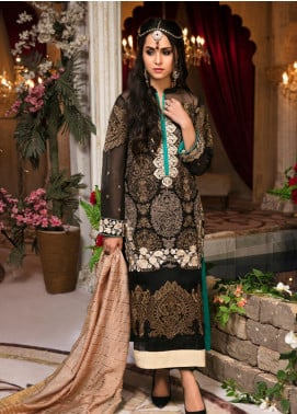 Guzellik by Zardaan Embroidered Khaadi Net Unstitched 3 Piece Suit GZK19ZD 02 Poetic Dream - Luxury Collection