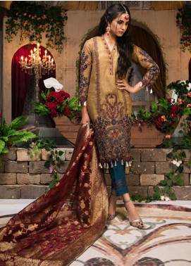 Guzellik by Zardaan Embroidered Khaadi Net Unstitched 3 Piece Suit GZK19ZD 04 Vivid Essence - Luxury Collection