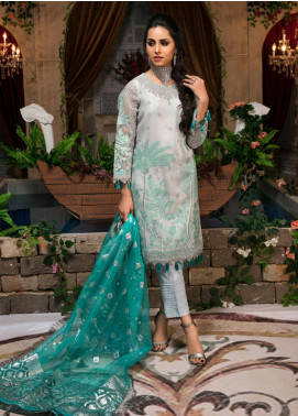 Guzellik by Zardaan Embroidered Organza Unstitched 3 Piece Suit GZK19ZD 05 Delicacy Persona - Luxury Collection