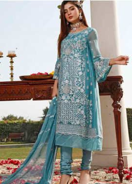 Hadia Eman Embroidered Chiffon Unstitched 3 Piece Suit HE20C D-01 - Luxury Collection