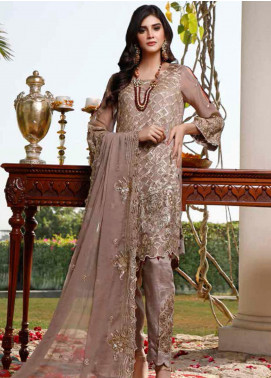 Hadia Eman Embroidered Chiffon Unstitched 3 Piece Suit HE20C D-02 - Luxury Collection