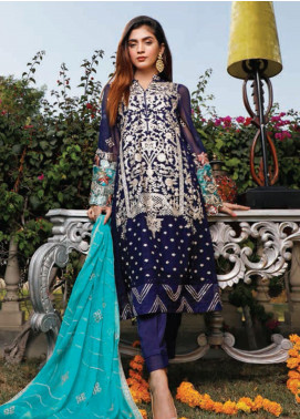 Hadia Eman Embroidered Chiffon Unstitched 3 Piece Suit HE20C D-03 - Luxury Collection
