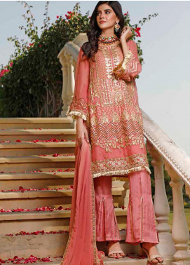 Hadia Eman Embroidered Chiffon Unstitched 3 Piece Suit HE20C D-06 - Luxury Collection