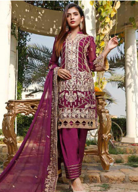 Hadia Eman Embroidered Chiffon Unstitched 3 Piece Suit HE20C D-07 - Luxury Collection