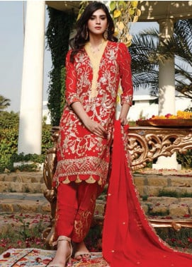 Hadia Eman Embroidered Chiffon Unstitched 3 Piece Suit HE20C D-08 - Luxury Collection