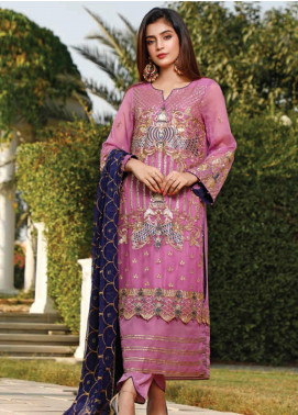 Hadia Eman Embroidered Chiffon Unstitched 3 Piece Suit HE20C D-09 - Luxury Collection