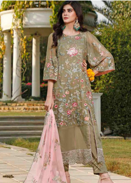 Hadia Eman Embroidered Chiffon Unstitched 3 Piece Suit HE20C D-10 - Luxury Collection