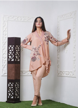Hana Embroidered Crepe Stitched 2 Piece Ladies 2Pc HF0054 Glamour Peach-S