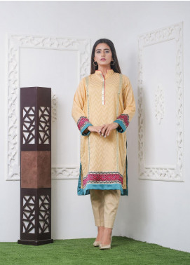 Hana Embroidered Jacquard Stitched Kurties Ladies Kurti HC0041 Jaqd Orange-S