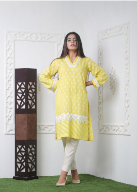 Hana Embroidered Jacquard Stitched Kurties Ladies Kurti HC0043 Yellow Jaqd-S
