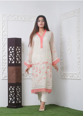 Hana Embroidered Chiffon Stitched Kurties Ladies Kurti HF0017 Pink Chiffon-S