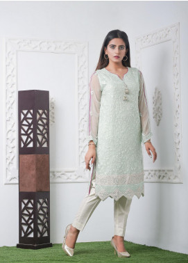 Hana Embroidered Chiffon Stitched Kurties Ladies Kurti HF0022 Lime Green-S