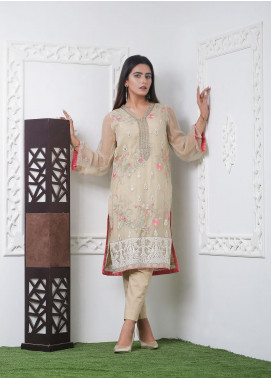 Hana Embroidered Chiffon Stitched Kurties Ladies Kurti HF0025 Off White Emb-S