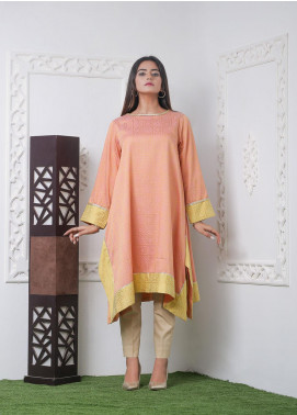 Hana Embroidered Jacquard Stitched Kurties Ladies Kurti HH00010 Peach Geranium-S
