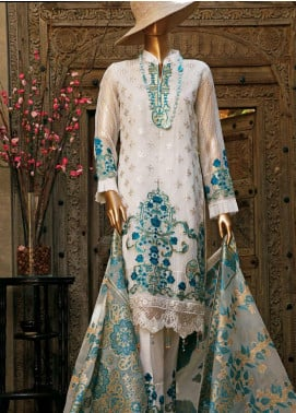 Hareer Embroidered Organza Unstitched 3 Piece Suit HR19C 01 IVORY SAPPHIRE - Luxury Collection