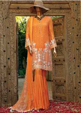 Hareer Embroidered Chiffon Unstitched 3 Piece Suit HR19C 02 TROPICAL PEARLS - Luxury Collection