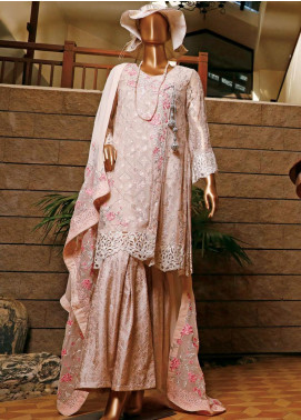 Hareer Embroidered Chiffon Unstitched 3 Piece Suit HR19C 04 PASTEL PETALS - Luxury Collection