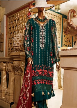 Hareer Embroidered Chiffon Unstitched 3 Piece Suit HR19C 05 EMERALD GARDEN - Luxury Collection