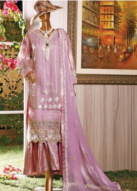 Hareer Embroidered Organza Unstitched 3 Piece Suit HR19C 06 LAVENDER DREAM - Luxury Collection