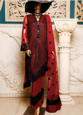 Hareer Embroidered Chiffon Unstitched 3 Piece Suit HR19C 07 ROYAL DREAM - Luxury Collection