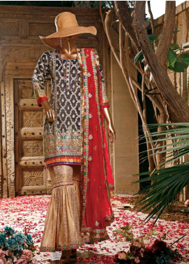 Hareer Embroidered Khaadi Net Unstitched 3 Piece Suit HR19C 08 MYSTIC FIESTA - Luxury Collection