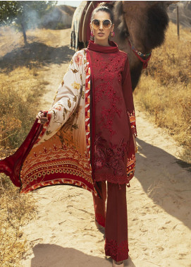 Hemline by Mushq Embroidered Linen Unstitched 3 Piece Suit MQ20HW 02 Granita - Winter Collection