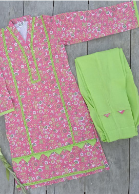 Hiba Clothing Cotton Casual 2 Piece Suit for Girls -  HBC-005 Tea Pink & Green
