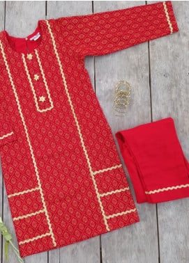 Hiba Clothing Khaddar Casual 2 Piece Suit for Girls -  HBK-003 Red (Gota)