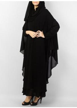 Hijab ul Hareem Jilbab Chiffon Stitched Abaya JILBAB-C-Black