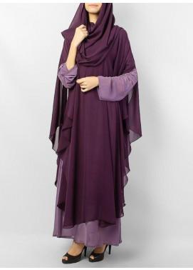 Hijab ul Hareem Jilbab Chiffon Stitched Abaya JILBAB-C-Purple
