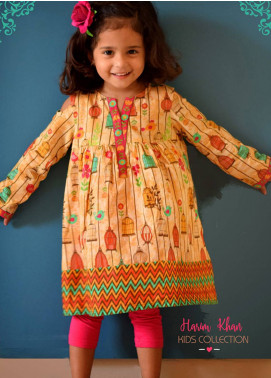 Harim Khan Lawn Printed Kurtis for Girls - Yellow HK18K 001