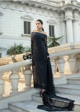 Honey Waqar By ZS Textile Embroidered Chiffon Unstitched 3 Piece Suit HWC19EC 01 Orielle - Luxury Collection