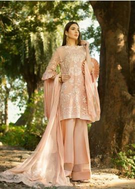 Honey Waqar By ZS Textile Embroidered Chiffon Unstitched 3 Piece Suit HWC19EC 08 Bloc De Couleur - Luxury Collection