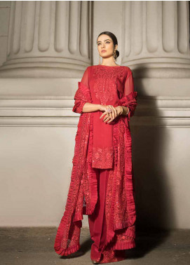 Honey Waqar By ZS Textile Embroidered Chiffon Unstitched 3 Piece Suit HWC19EC 09 Roi De Paisly - Luxury Collection