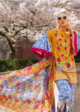Honey Waqar Embroidered Lawn Unstitched 3 Piece Suit HW19F 3B VASILISA THE BEAUTIFUL - Festive Collection