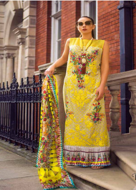 Honey Waqar Embroidered Lawn Unstitched 3 Piece Suit HW19F 6B LYRICS OF PAVLOVA - Festive Collection
