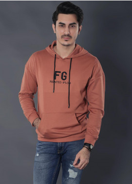 Sanaulla Exclusive Range Jersey Casual Hoodies for Men -  19-2204 Orange