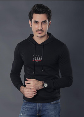 Sanaulla Exclusive Range Jersey Casual Men Hoodies -  19-2501 Black