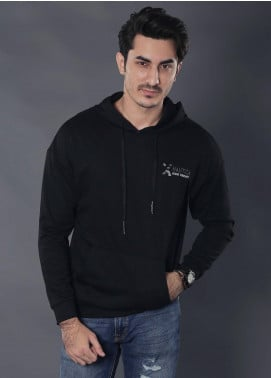 Sanaulla Exclusive Range Jersey Casual Hoodies for Men -  19-9104 Black